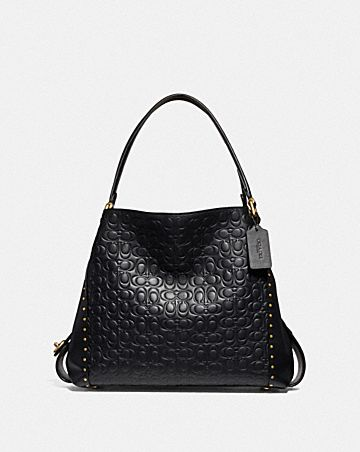 EDIE SHOULDER BAG 31 IN SIGNATURE LEATHER WITH RIVETS fecf631163ea9