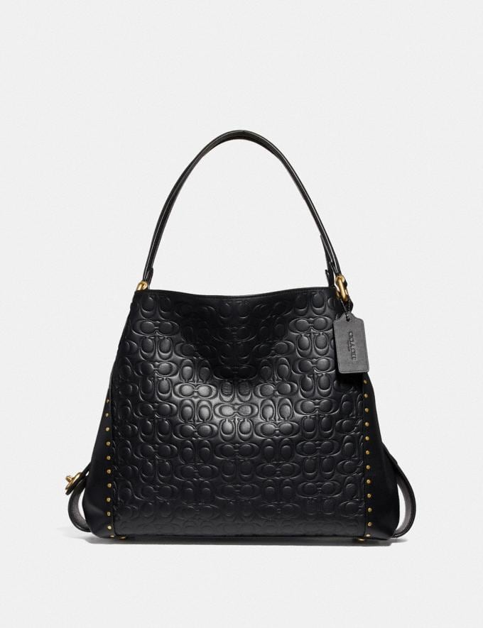 Coach Edie Shoulder Bag 31 in Signature Leather With Rivets Brass/Black Women Bags Shoulder Bags
