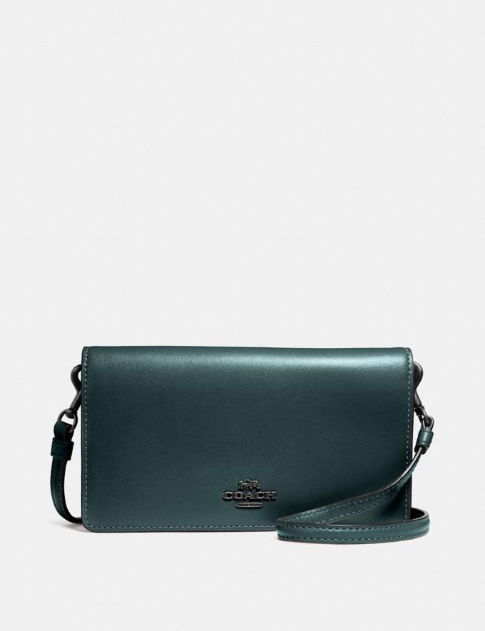 Coach Slim Phone Crossbody Dark Turquoise/Gunmetal Women Bags Crossbody Bags