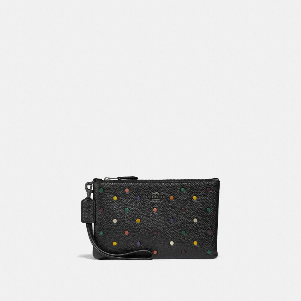 small wristlet with rainbow rivets