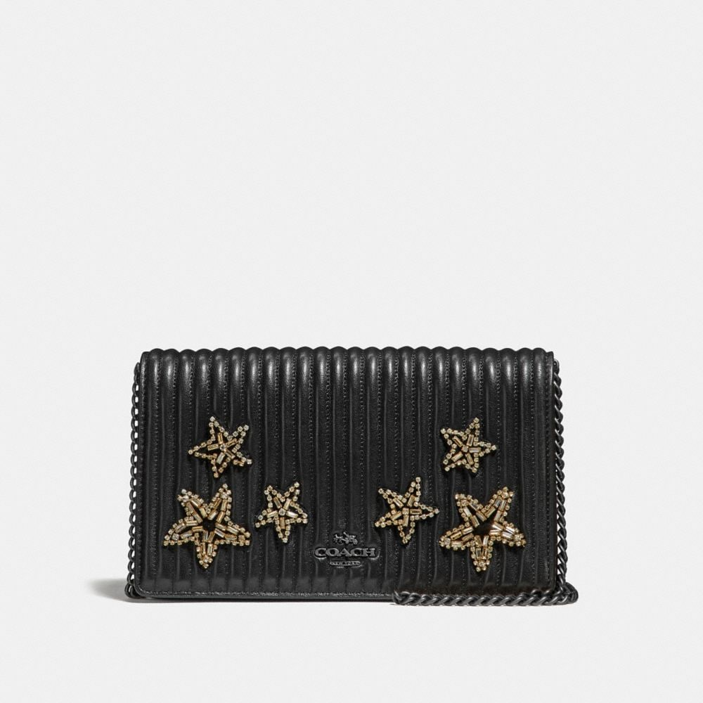 FOLDOVER CHAIN CLUTCH IN QUILTED LEATHER WITH CRYSTAL EMBELLISHMENT