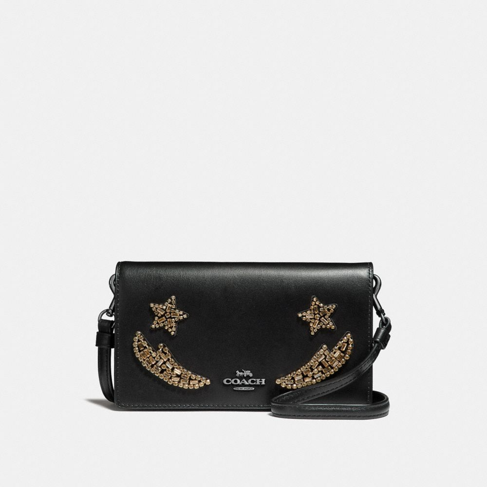 slim phone crossbody in refined calf leather with crystal embellishment