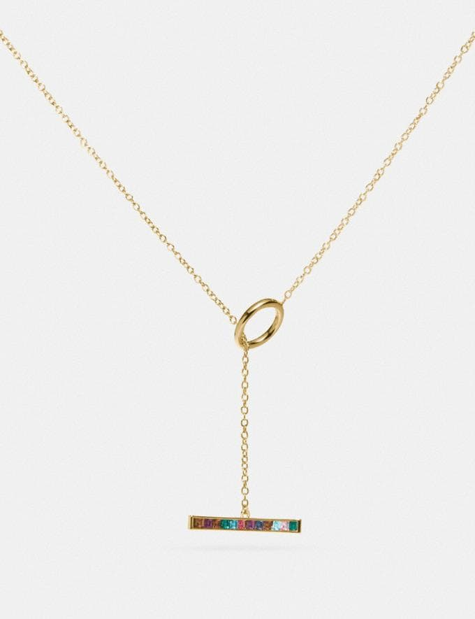 Coach Legacy Rainbow Horizontal Bar Drop Necklace Gd/Legacy Multi Women Accessories Jewellery Necklaces
