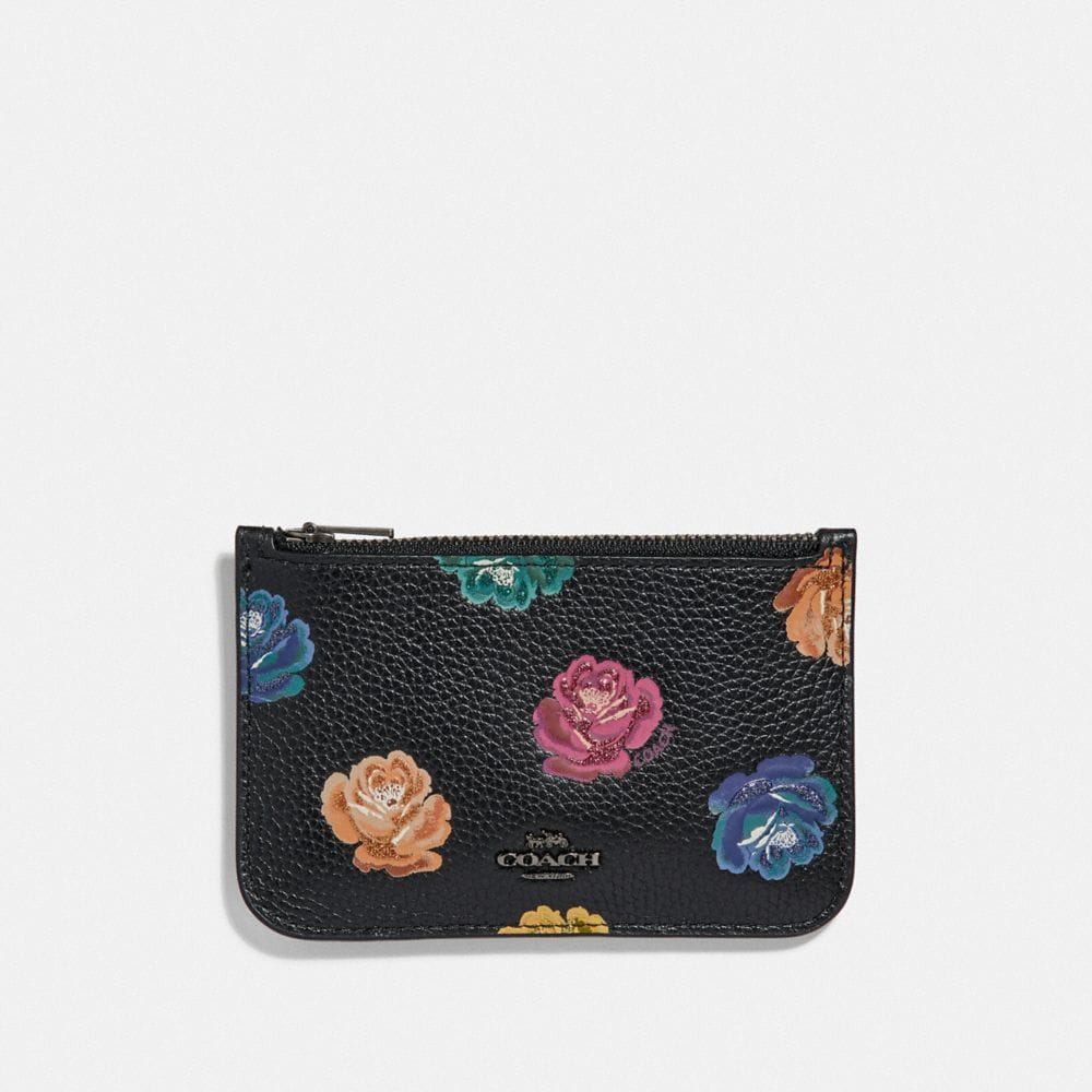 Coach Zip Card Case With Rainbow Rose Print