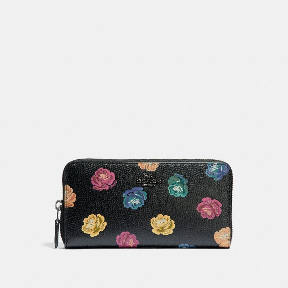 ACCORDION ZIP WALLET WITH RAINBOW ROSE PRINT