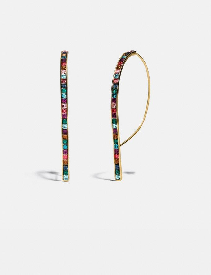 Coach Legacy Rainbow Rounded Bar Drop Earrings Gd/Legacy Multi Women Accessories Jewellery Earrings