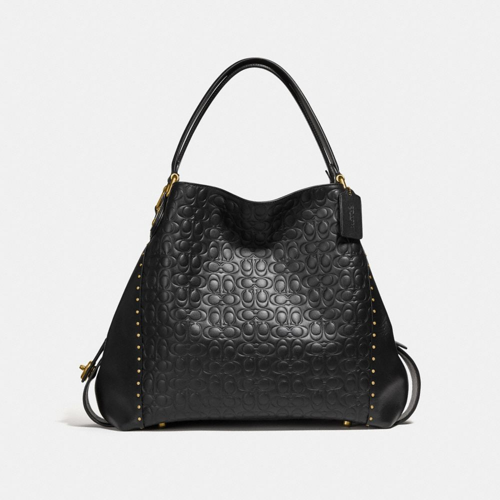 Coach Edie Shoulder Bag 42 in Signature Leather With Rivets
