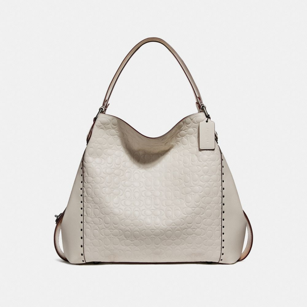 EDIE SHOULDER BAG 42 IN SIGNATURE LEATHER WITH BORDER RIVETS