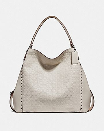 E Shoulder Bag 42 In Signature Leather With Rivets