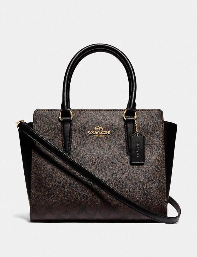 Coach Leah Satchel in Signature Canvas Im/Brown Black Women Bags