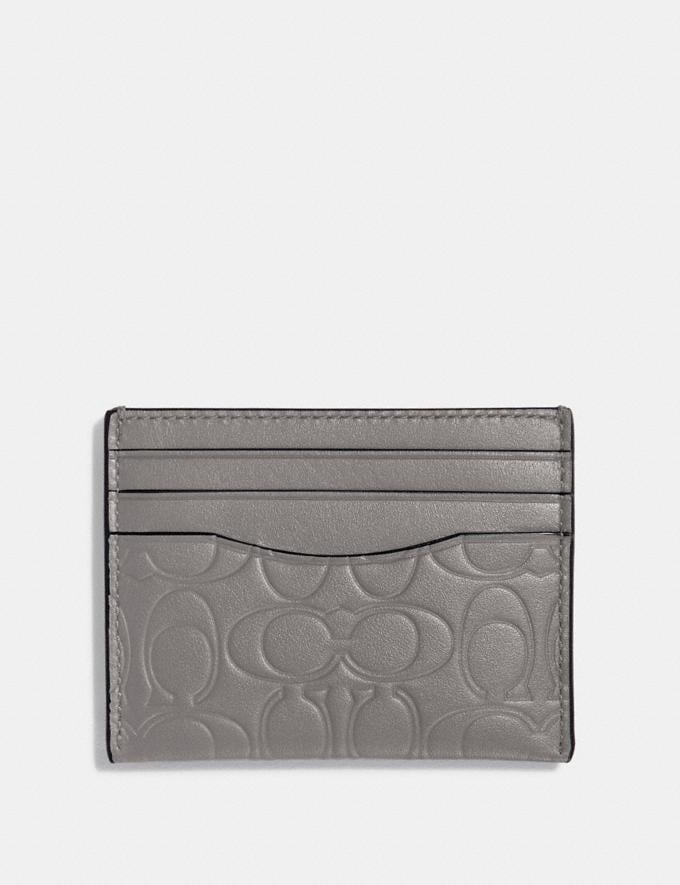 Coach Card Case in Signature Leather Heather Grey Men Wallets Card Cases