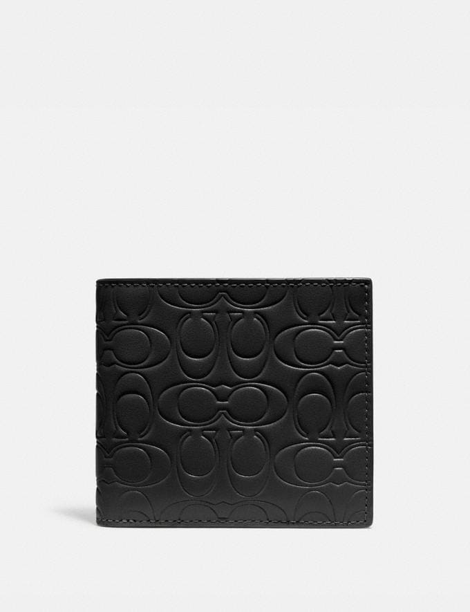 Coach Double Billfold Wallet in Signature Leather Black Gift Holiday Shop Stocking Fillers For Him