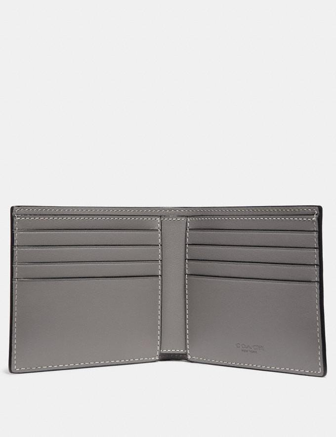 Coach Double Billfold Wallet in Signature Leather Heather Grey Men Wallets Alternate View 1