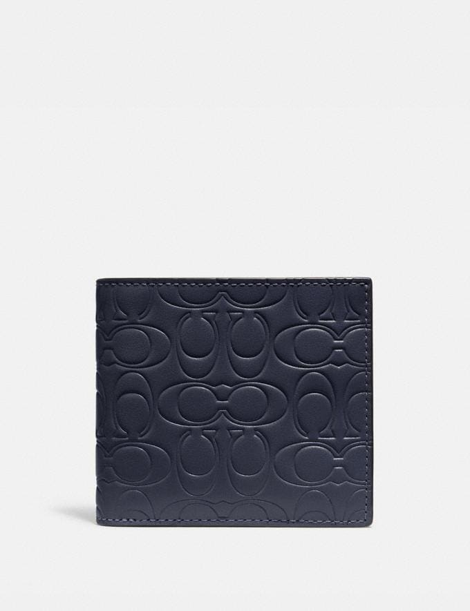 Coach Double Billfold Wallet in Signature Leather Midnight Men Wallets Billfolds