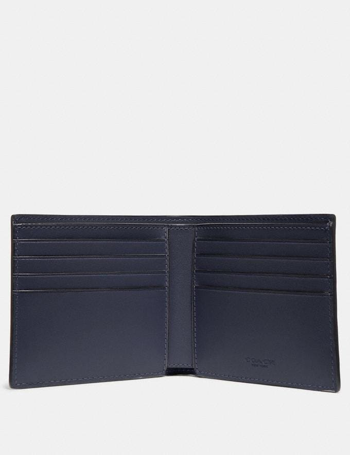 Coach Double Billfold Wallet in Signature Leather Midnight Men Wallets Alternate View 1