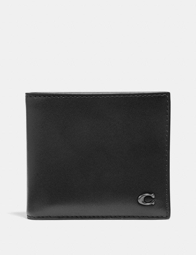 Coach Double Billfold Wallet With Signature Hardware Black Men Wallets Billfolds