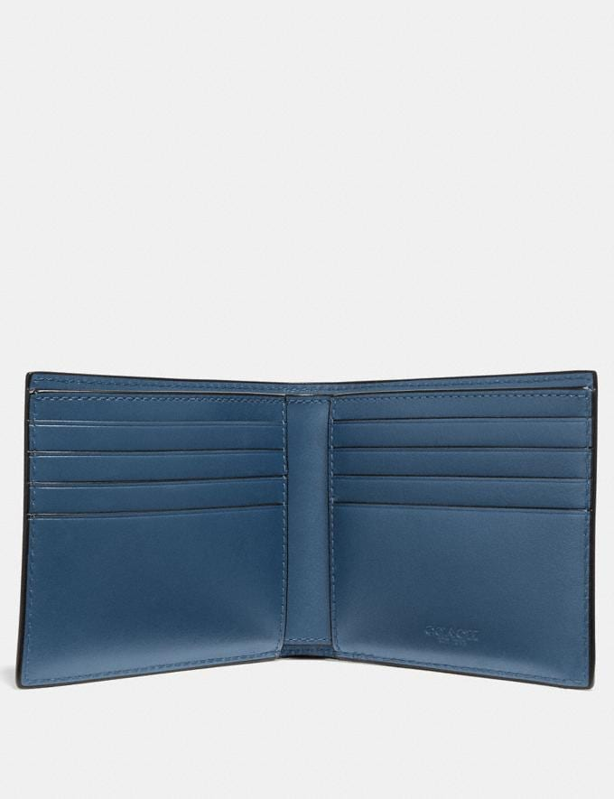 Coach Double Billfold Wallet With Signature Hardware Denim Men Wallets Alternate View 1