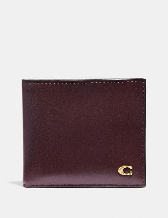 Coach Double Billfold Wallet With Signature Hardware Oxblood New Men's New Arrivals Wallets