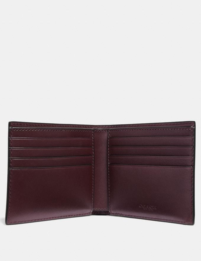 Coach Double Billfold Wallet With Signature Hardware Oxblood New Men's New Arrivals Wallets Alternate View 1