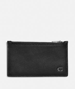 ZIP CARD CASE WITH SIGNATURE HARDWARE
