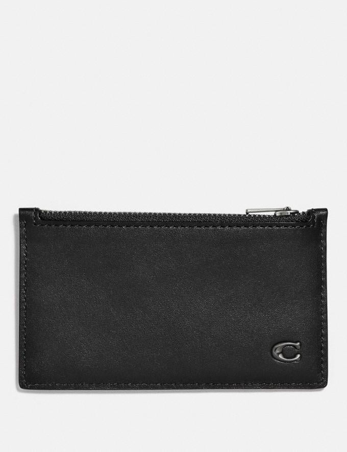 Coach Zip Card Case With Signature Hardware Black Men Wallets Card Cases