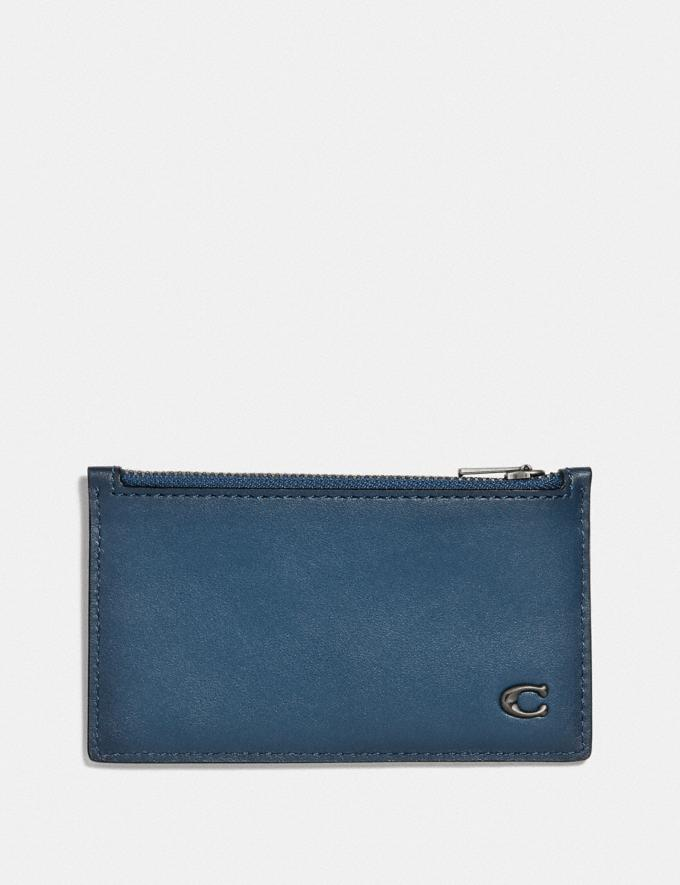 Coach Zip Card Case With Signature Hardware Denim Personalise Personalise It Monogram For Him