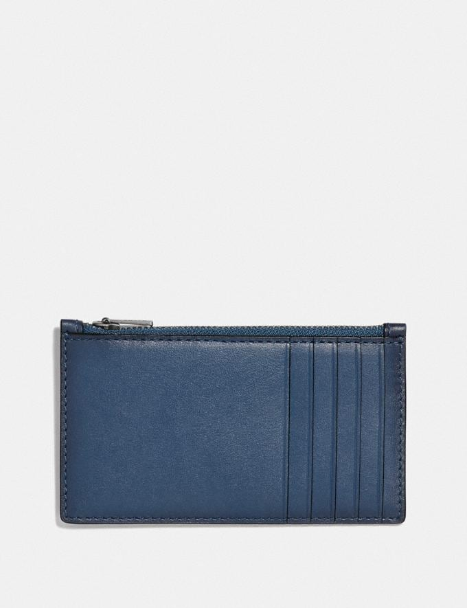 Coach Zip Card Case With Signature Hardware Denim Personalise Personalise It Monogram For Him Alternate View 1