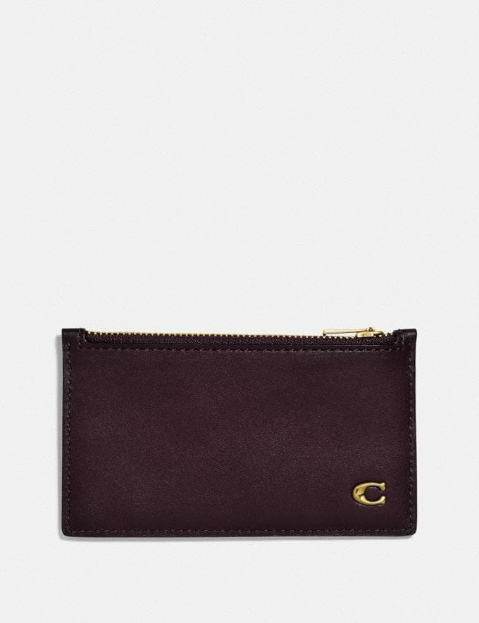 Coach Zip Card Case With Signature Hardware Oxblood Personalise Personalise It Monogram For Him