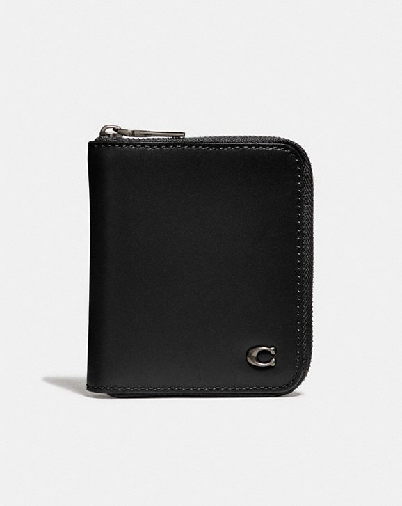 Coach SMALL ZIP AROUND WALLET WITH SIGNATURE HARDWARE