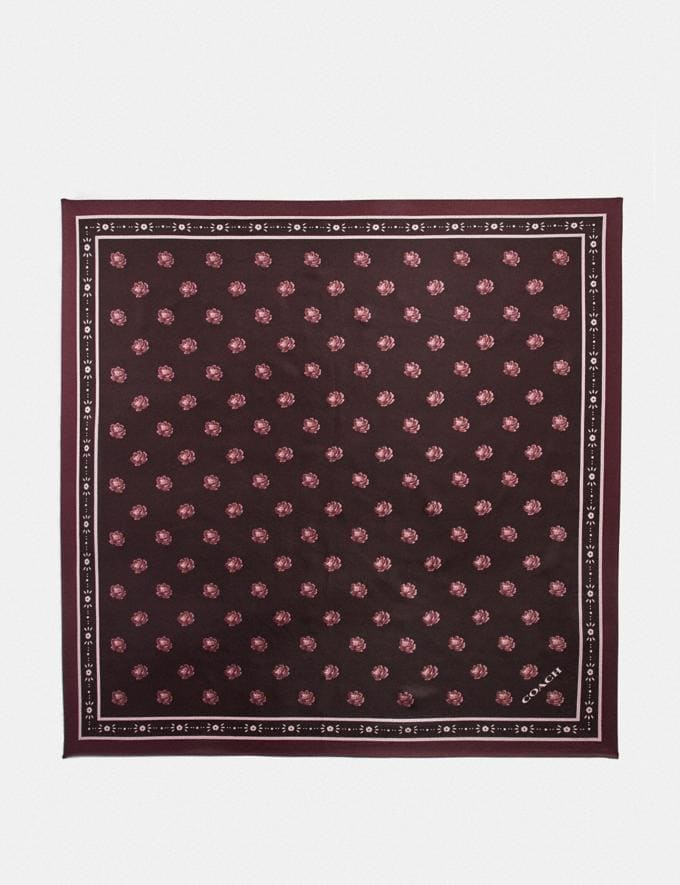 Coach Rose Silk Square Oxblood Women Accessories Hats Scarves and Gloves