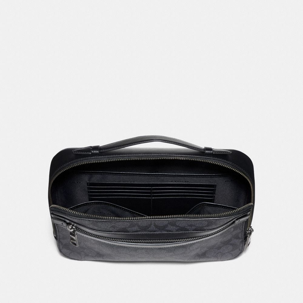 Coach Academy Travel Case in Signature Canvas Alternate View 1