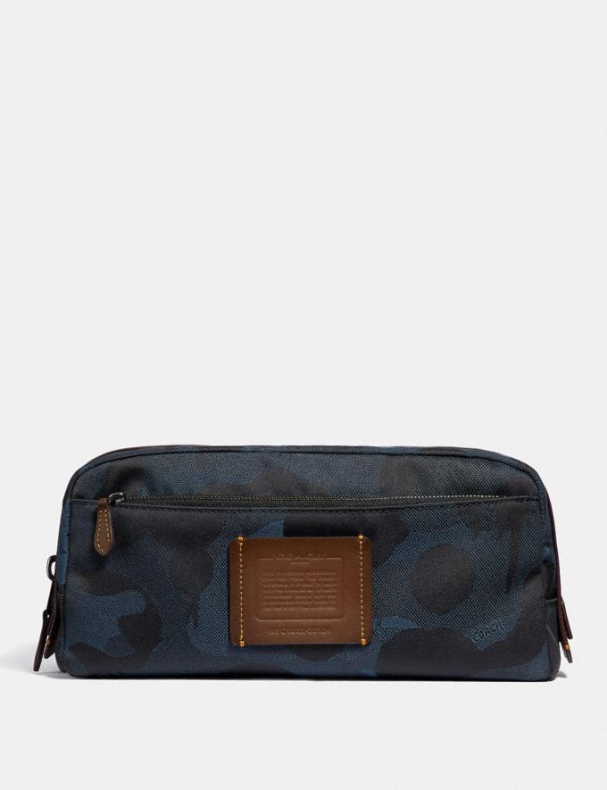 Coach Double Zip Dopp Kit With Wild Beast Print Denim Men Accessories Tech & Travel