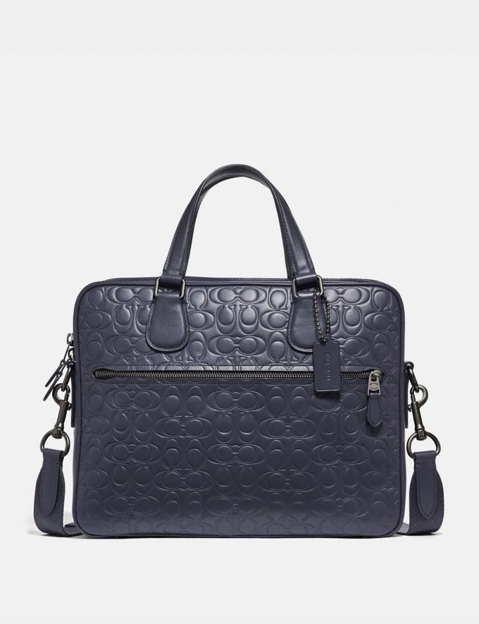 Coach Hudson 5 Bag in Signature Leather Midnight Navy/Black Antique Nickel Men Edits Work