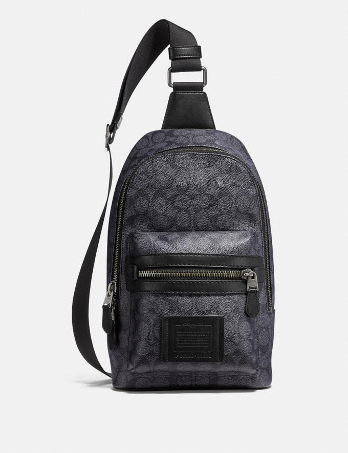 Coach Academy Pack in Signature Canvas Charcoal/Black Antique Nickel Men Bags