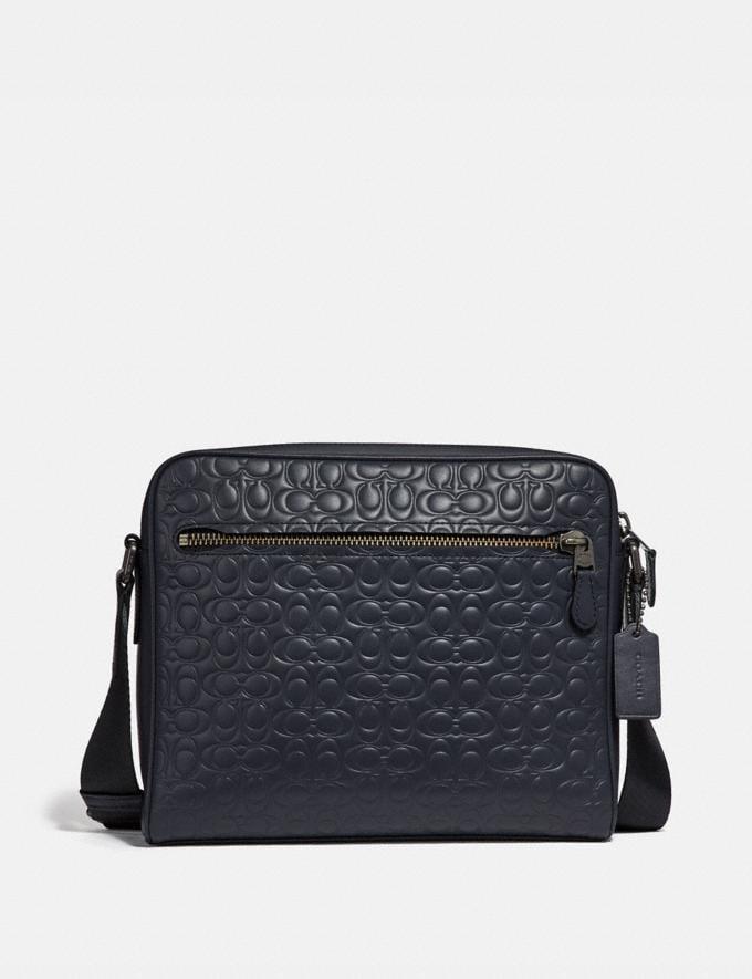 Coach Metropolitan Camera Bag in Signature Leather Midnight Navy/Black Antique Nickel Men Bags Messenger Bags