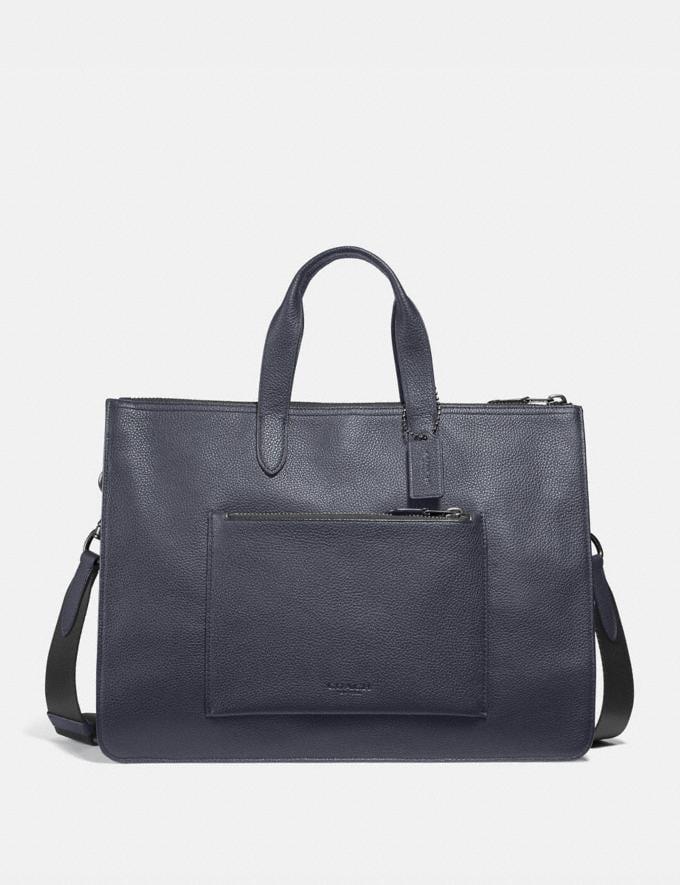 Coach Metropolitan Soft Brief Midnight Navy/Black Antique Nickel Men Bags Briefcases