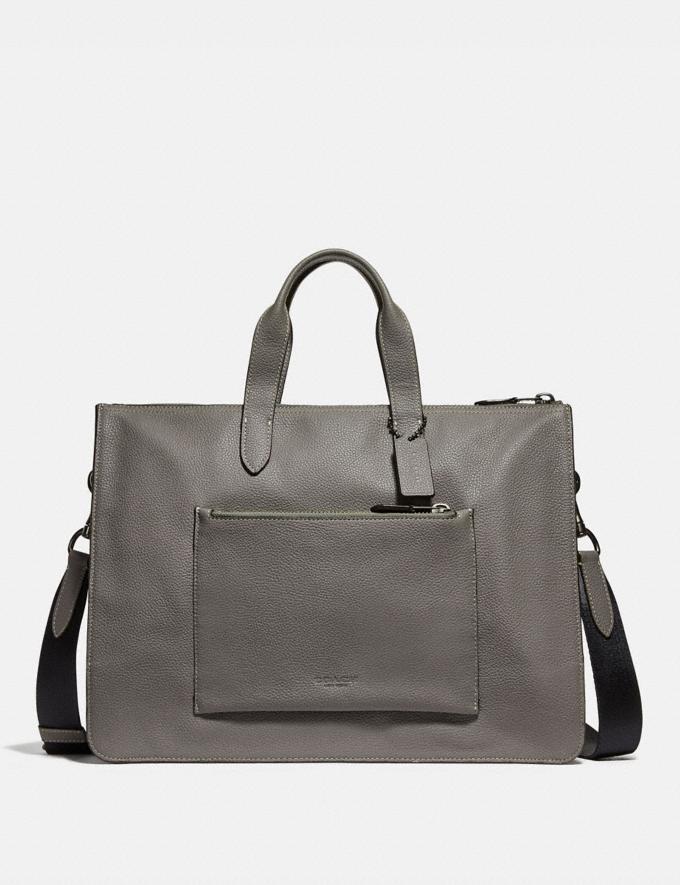 Coach Metropolitan Soft Brief Heather Grey/Black Antique Nickel Men Bags Briefcases