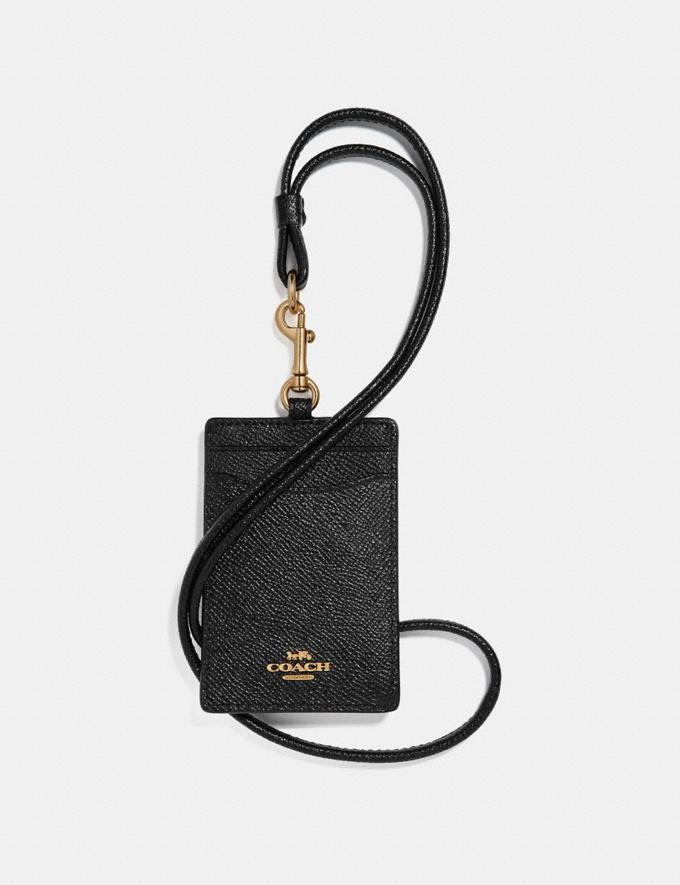 Coach Id Lanyard Black/Light Gold Women Small Leather Goods Card Cases