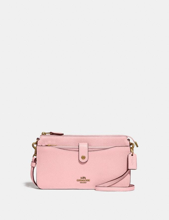 Coach Pop-Up Messenger Bright Coral/Silver Women Small Leather Goods Tech Wallets