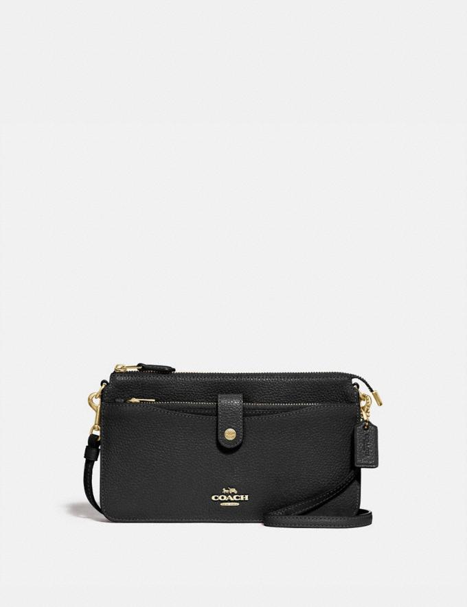 Coach Noa Pop-Up Messenger Black/Light Gold Women Handbags Crossbody Bags