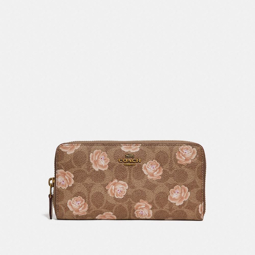 Coach Accordion Zip Wallet in Signature Rose Print
