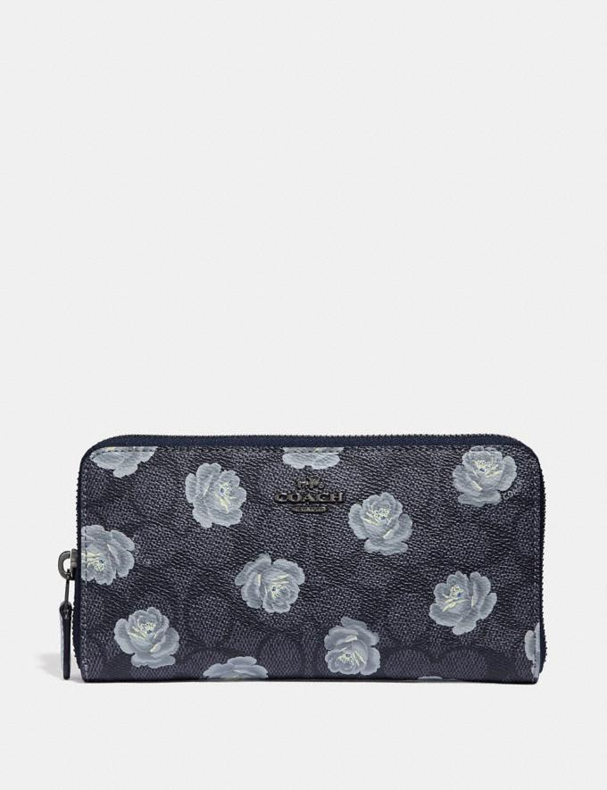 Coach Accordion Zip Wallet in Signature Rose Print Charcoal/Sky/Dark Gunmetal Women Small Leather Goods Large Wallets