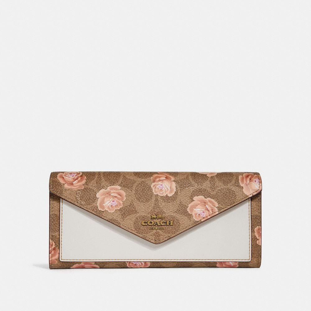 Coach Soft Wallet in Signature Rose Print