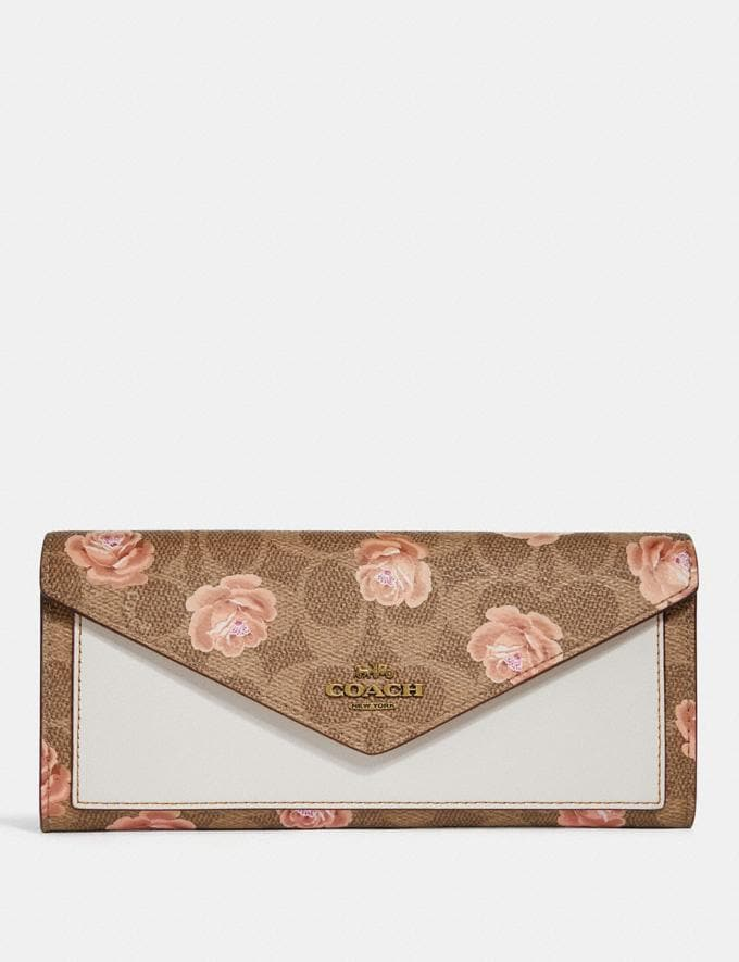 Coach Soft Wallet in Signature Rose Print Tan/Brass Women Small Leather Goods Large Wallets