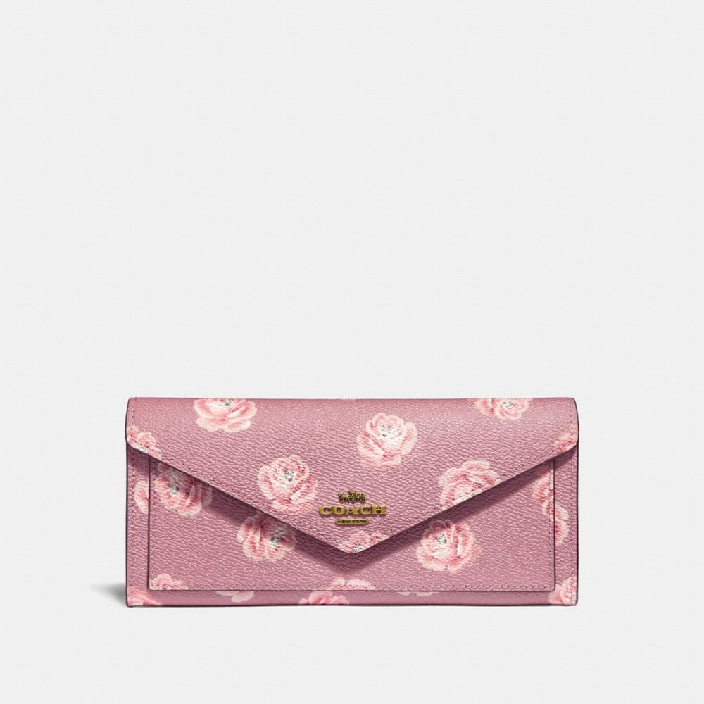 Coach Soft Wallet With Rose Print