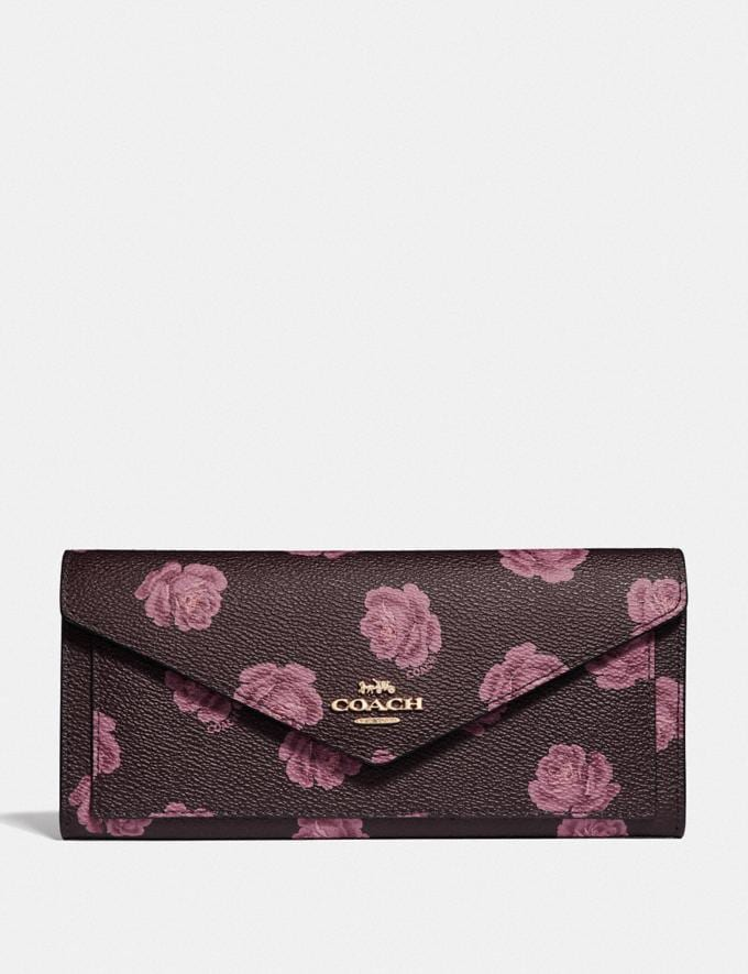 Coach Soft Wallet With Rose Print Oxblood Rose Print/Gold Women Wallets & Wristlets Large Wallets