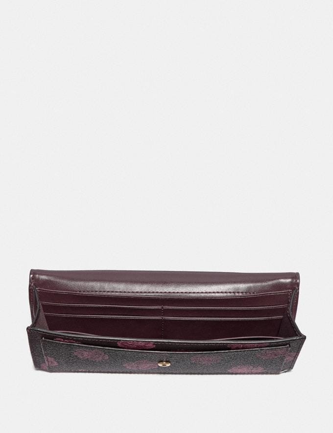 Coach Soft Wallet With Rose Print Oxblood Rose Print/Gold Women Wallets & Wristlets Large Wallets Alternate View 1