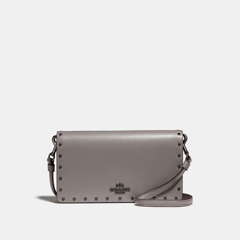 slim phone crossbody with rivets