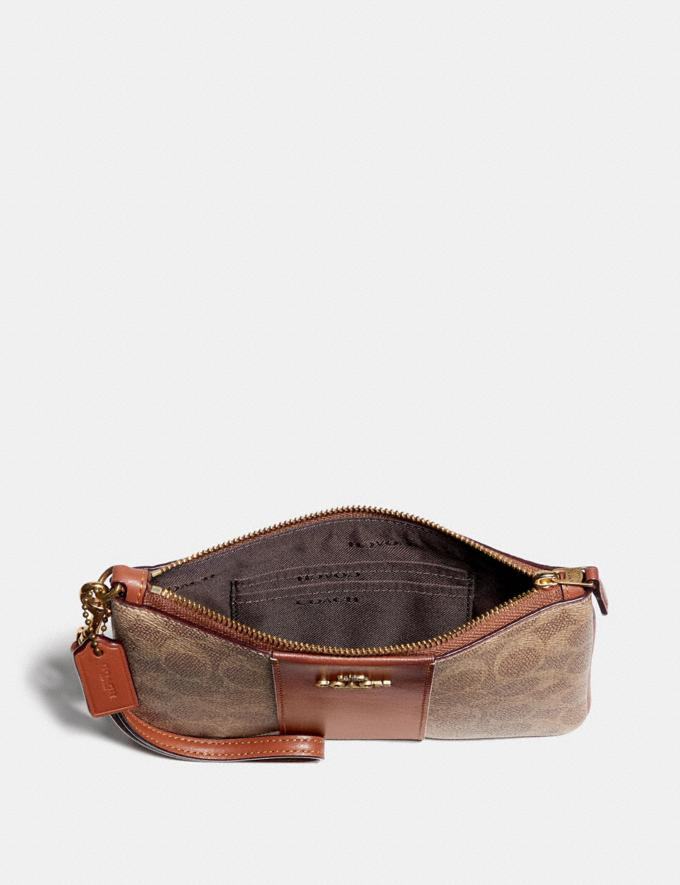 Coach Small Wristlet in Colorblock Signature Canvas Tan/Rust/Brass Women Bags Signature Bags Alternate View 1