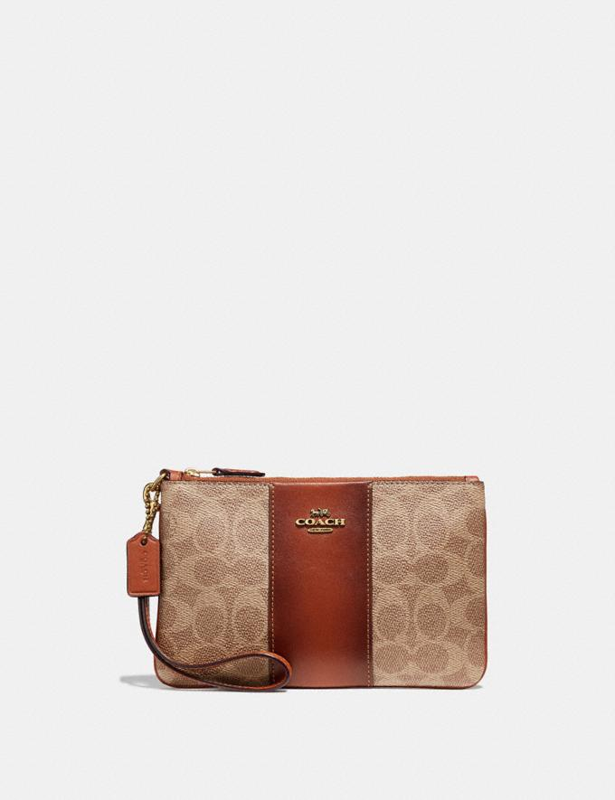 Coach Small Wristlet in Colorblock Signature Canvas Tan/Rust/Brass Women Small Leather Goods Wristlets